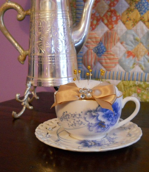 Blue lace teacup pincushion gift for mom under 20 for Room decor under 20