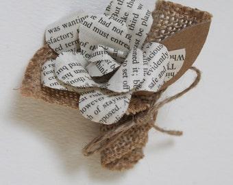 paper flower & burlap boutonniere - rustic wedding accessory