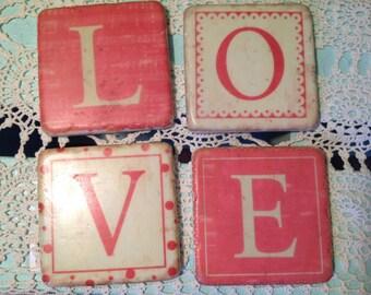 Set of Ceramic LOVE Coasters