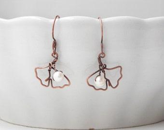 Ginkgo leaf earrings, copper earrings gingko leave summer style