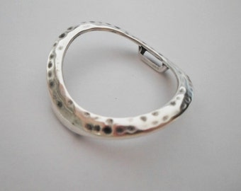 Large Hammered Sterling Silver Plated Ring, 10mm Flat Leather Cord Finding,