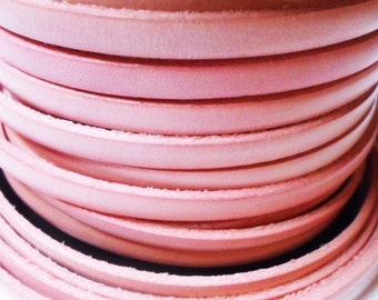 SALE: Distressed Pink 5mm Flat Leather Cord,