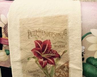 Amaryllis floursack tea towel