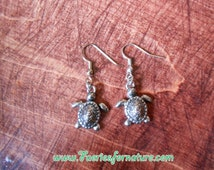 Silver or Bronze  Turtle Dangle Earrings