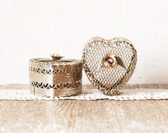 Set of Two Wire Trinket Jewelry Box, Pair of Silver Metal Wedding Ring Boxes, Wedding Set