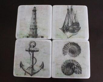 Nautical Marble Coaster Set