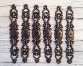 """SALE! Set of 6 New Antique Brass Large 8-1/4"""" Long Back Plates for Knobs (JA0769) Order in Bulk for Discount Pricing!"""