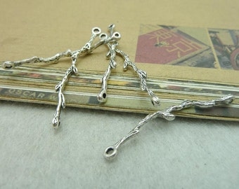 20pcs 3x41mm Antique Bronze Antique Silver Branch Chaining Pendants Jewelry Findings AC6359