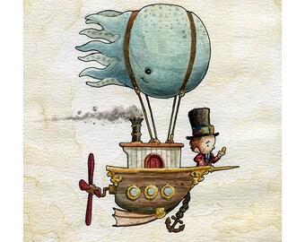 Cutepunk Octoship Watercolor Print