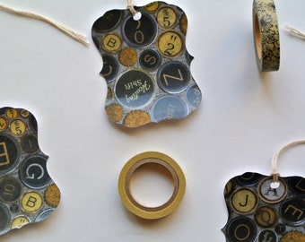Vintage Bottle Cap Paper Tags with Strings Attached