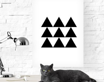 Triangles print, Black and white triangles, Geometric print, Geometric art, Triangles art, Black and white print, Printable poster, Triangle