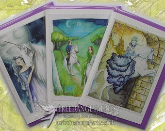 Majestic White Horse Card Pack/Glitter greetings card/Birthday Card/Special Card/Spiritual Cards/Faerie Cards/Glastonbury Tor/Unicorn