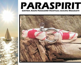 Nautical Bracelet / Rope / Surfer / Beach / Paracord Bracelet with Stainless Steel Shackle and Whipped Ends