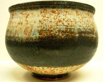 Studio Art Pottery Drip Glaze Bowl, Rustic Footed Bowl