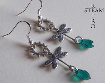 10% off sale16 Mechanical dragonfly earrings - steampunk earrings - emerald steampunk earrings - steampunk jewellery by steamretro