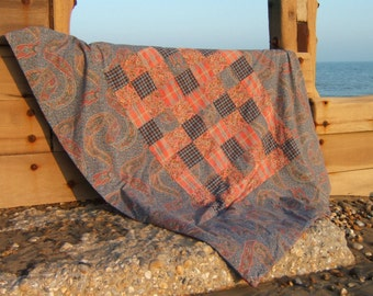 Paisley and Tartan Patchwork Quilt, Picnic Blanket or Travel Rug