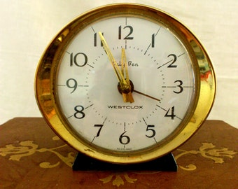 Vintage Westclox Classic Scotland 1960s Baby Ben Wind-up Alarm Clock with Gold Color Case