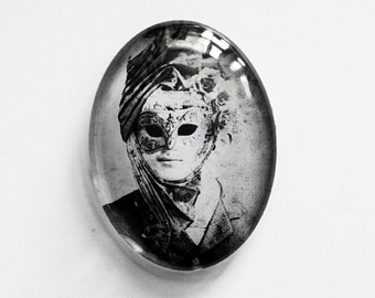 40x30mm handmade glass cabochon - Masquerade - antique illustration