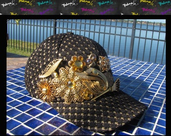 Embellished Cap,Brooch Cap,Baseball Cap, Hat, Lid, Costume Jewelry ,Embellished ,Black and Gold with Metallic One of a Kind
