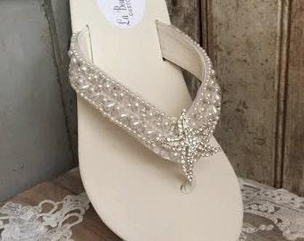 Destination Wedding Custom Beaded Bridal Wedge Flip Flop Beach Wedding Reception Flip Flop