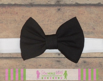 Infant Child Youth Adult Pre-tied Custom Classic Solid Black Bow Tie
