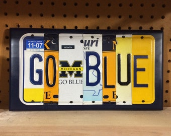GO BLUE Custom Recycled License Plate Art Sign University of Michigan Wolverines