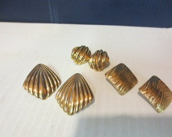 3 Pairs Of Gold Tone Pierced Earrings