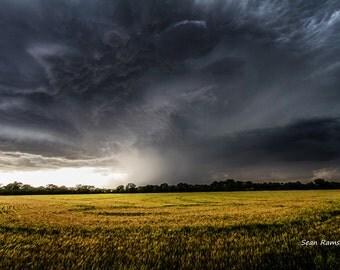 Sky Photography, Storm Print, Cloud Photo, Yellow Fields, Nature Storm, Photography Kansas, Rain Picture, Natural Print, Great Plains