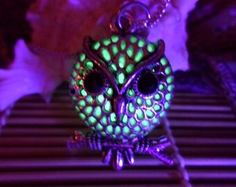 Owl Necklace, Glow in the dark jewelry, Owl Glow Pendant, Glow in the Dark, Glow Necklace, Owl Necklace, Owl Pendant