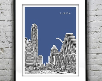 Austin Poster Skyline Poster Art Print Texas TX Downtown Version 5