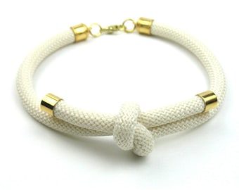 Rope Necklace in Ivory and Gold with Knotted Climbing Cord as Featured in Bead Style Magazine