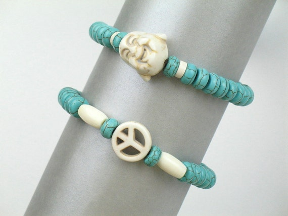 Bead Bracelet Set in Turquoise with Smiling Buddha Head, Peace Sign and Bone Tubes / Stretch Bracelets / Gift for Her / Yoga Zen Jewelry