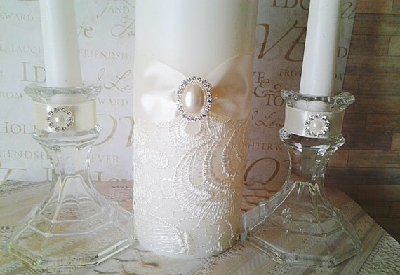 Ivory Lace Wedding Ceremony Unity Candle Set Brooch Crystal
