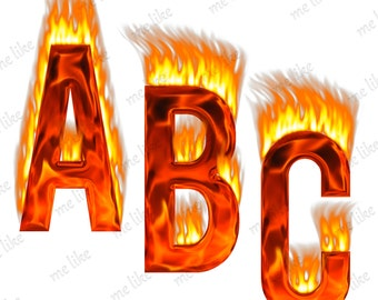 Digital Flame Alphabet Clipart - INSTANT DOWNLOAD- Digital Alphabet Clip Art - Fire Alphabet -Personal and Commercial Use -45 Png 300 Dpi