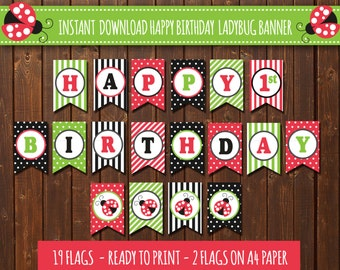 Ladybug Birthday Banner lady bug Birthday banner Happy Banner Banner 1 year 1st birthday party decorations Red Green DIY Printable PDF File