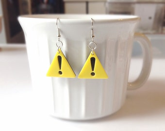 Exclamation earrings, yellow triangle earrings
