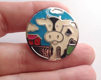 Cow on a lovely farm ring, blue skies ring, upcycled ring, repurposed ring, animal ring