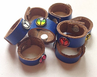 Blue leather rings with peace sign, leather ring, hippie ring, love ring, handmade ring