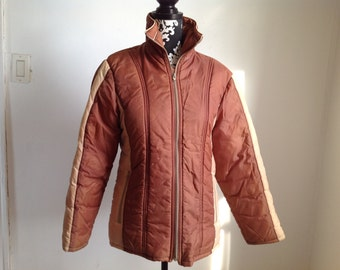 Retro Brown Nylon Poly-fill Women's Ski Jacket - Small