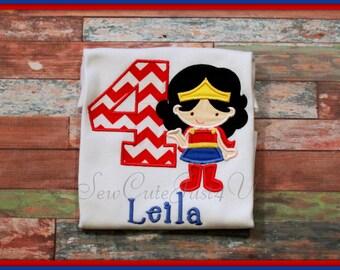 Wonderwoman Inspired Birthday Number Shirt