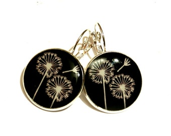 Dandelion earrings - Wish earrings - dangle earrings - Dandelion jewelry - white dandelion - wish flower - white dandelion wish