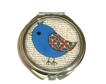 BIRD COMPACT MIRROR - bird accessories - mirror - purse mirror - travel mirror - compact mirror - pocket mirror - blue -  bird