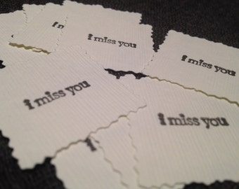 "Set of ""I miss you"" miniature textured notes, I miss you tiny notes, miniature notes (Set of 10)"