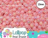 10mm PINK AB Acrylic Beads Round Opaque Aurora Borealis Plastic Beads 50-ct Colorful Rainbow Gum Ball Beads Bubblegum Beads Bottlecap Beads