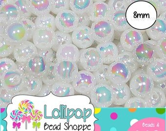 8mm WHITE AB Acrylic Beads Round Opaque Aurora Borealis Plastic Beads Colorful Rainbow Gum Ball Beads Bubblegum Beads Bottlecap Beads