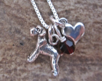 Schnauzer Mini Heart Sterling Silver Necklace