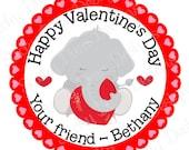 PERSONALIZED VALENTINE STICKERS - Little Elephant Design  - Round Gloss Sticker Labels