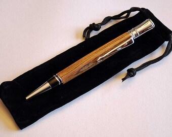 Handturned wood Twist Pen- Bocote wood and Chrome