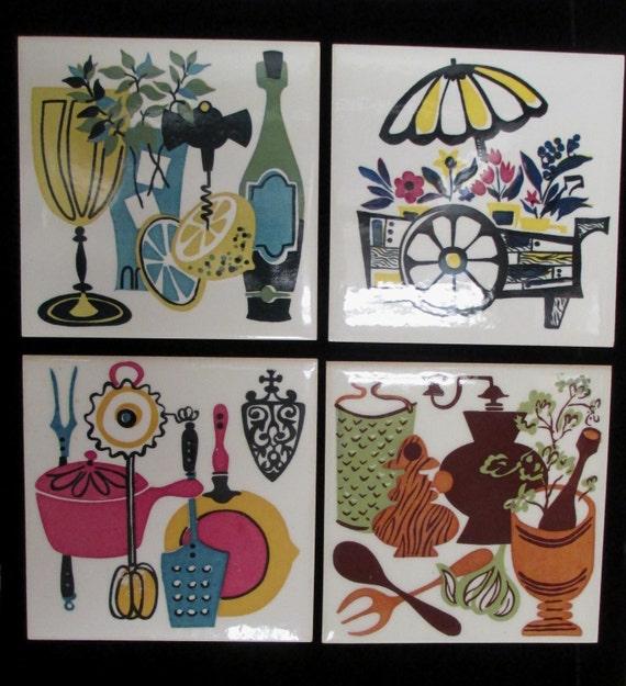 Ceramic Tiles 1970s Kitchen D Cor Spice Wine Flower Bbq Retro