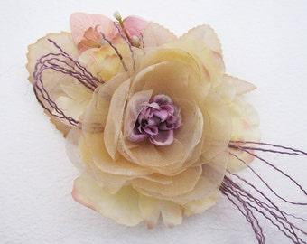 Handmade Wedding Cream Lilac Flower Brooch /Hair Clip/Bag Clip